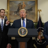 Sen. Tom Cotton, R- Ark., left, and Sen. David Perdue, R-Ga., right, look on as President Donald Trump speaks during the unveiling of legislation that would place new limits on legal immigration, in the Roosevelt Room of the White House, Wednesday, Aug. 2, 2017, in Washington. (AP Photo/Evan Vucci)