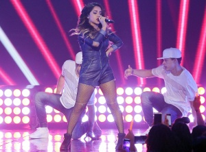 "MIAMI, FL - NOVEMBER 22:  Becky G performs on the set of the reality show ""La Banda"" at Univision Studios on November 22, 2015 in Miami, Florida.  (Photo by Alexander Tamargo/Getty Images)"